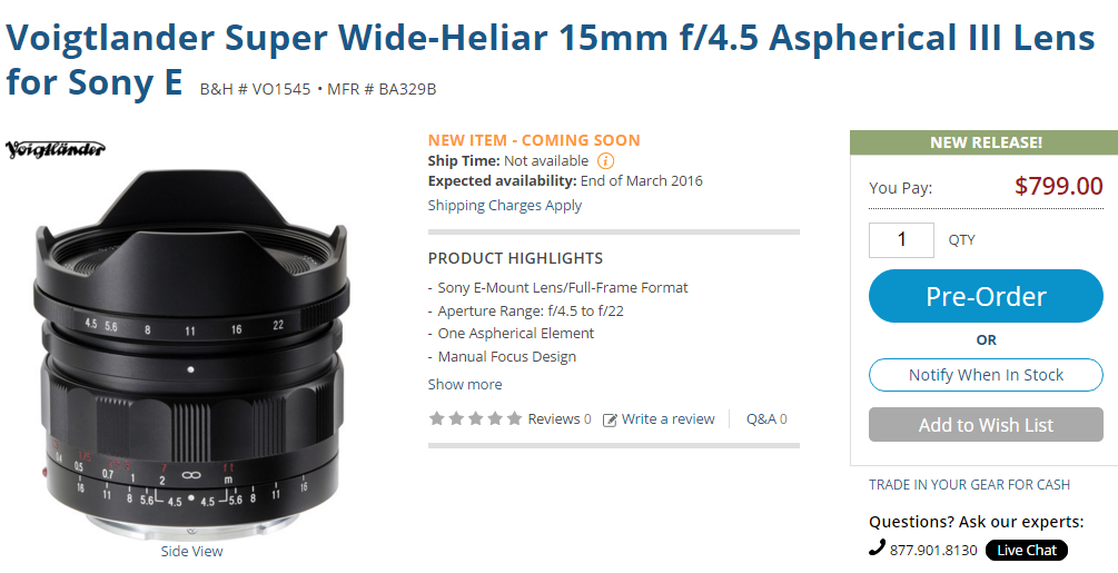 Voigtlander Super Wide-Heliar 15mm f4.5 Aspherical III Lens in stock