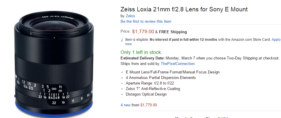 Zeiss Loxia 21mm F2.8 lens in stock