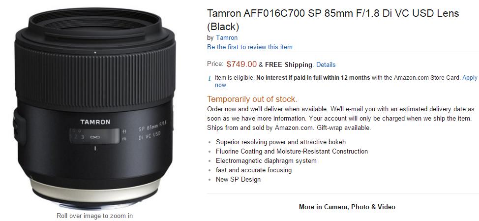 tamron sp 85mm lens pre-order