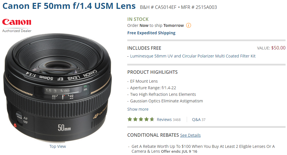 Canon EF 50mm F1.4 lens deal
