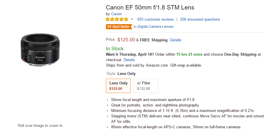 Canon EF 50mm F1.8 STM lens at Amazon