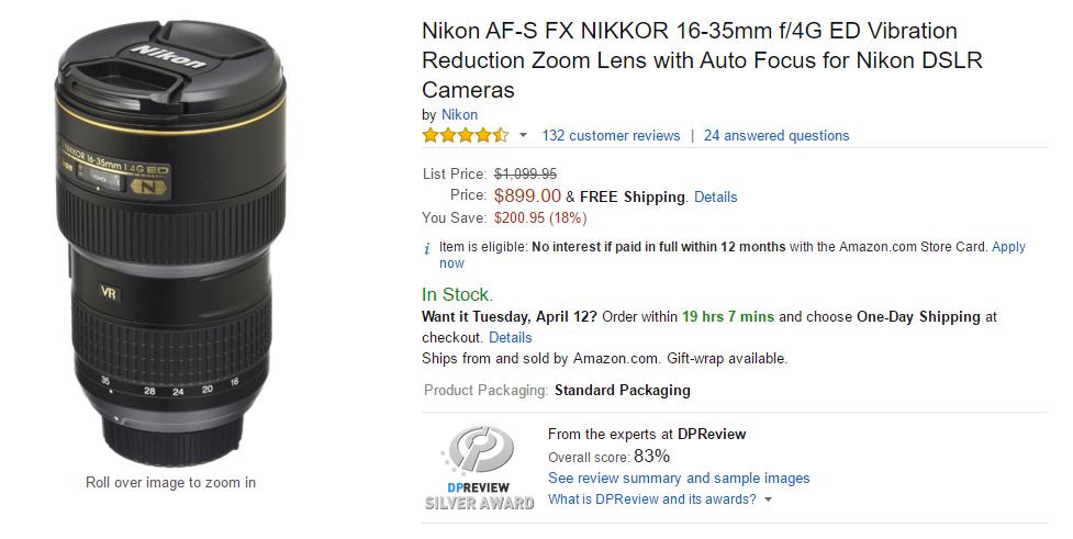 Nikon AF-S Nikkor 16-35mm F4G ED VR lens DEAL