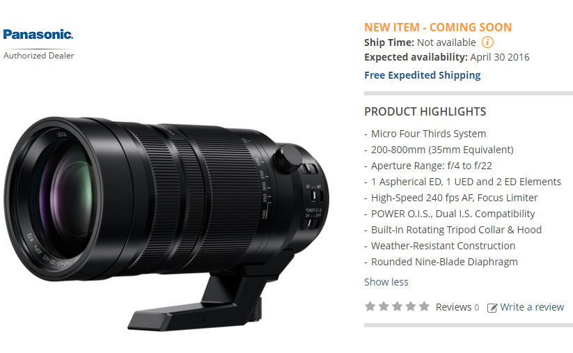 Panasonic Leica 100-400mm lens in stock