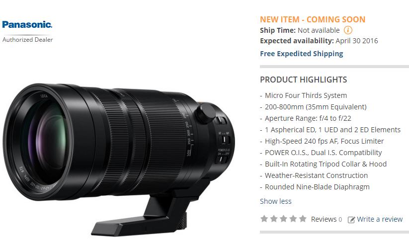 Panasonic Leica 100-400mm lens in stock