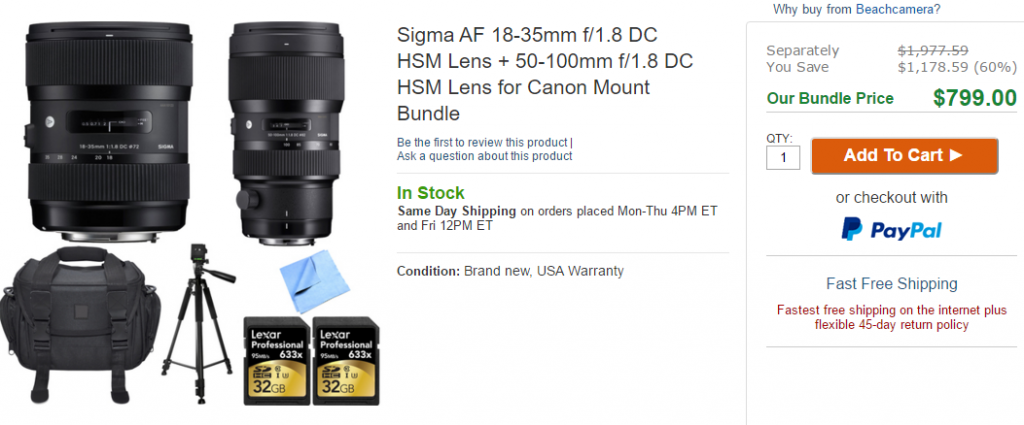 Sigma 18-35 and 50-100mm lens deals at beachcamera