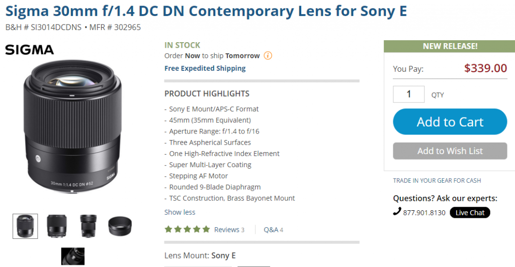Sigma 30mm F1.4 DC DN C lens in stock