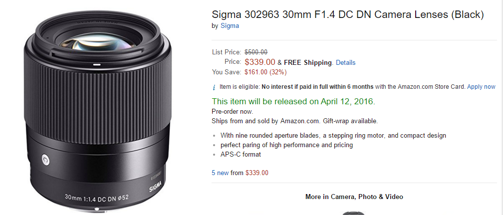 Sigma 30mm F1.4 DC DN C lens in stock at Amazon