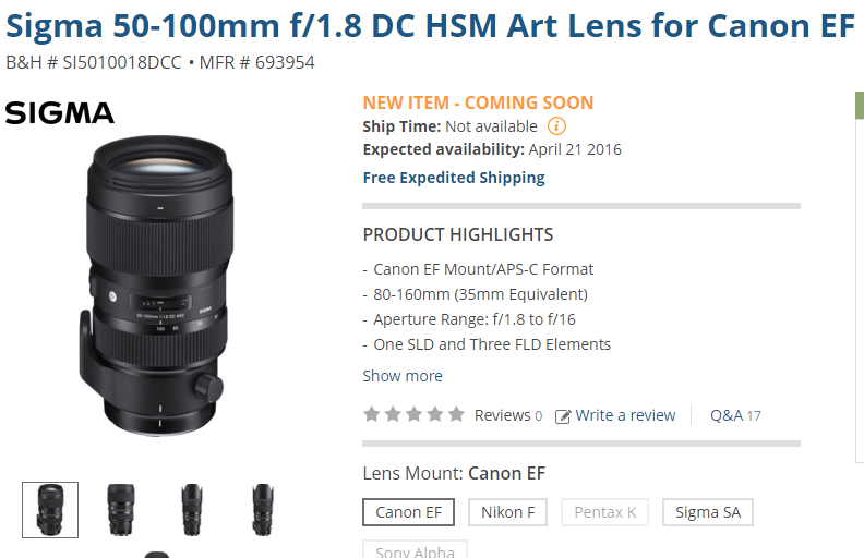Sigma 50-100mm f1.8 DC lens in stock