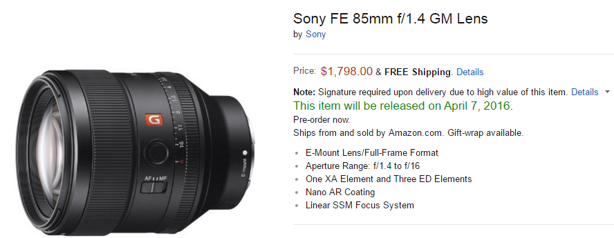 Sony FE 85mm F1.4 GM lens at Amazon