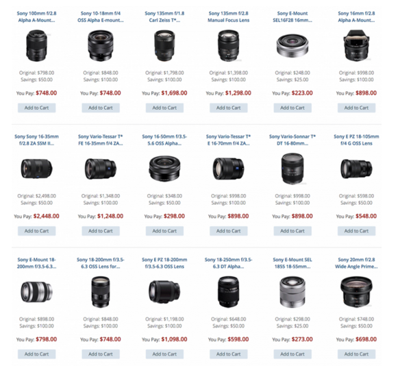 Sony lenses deals