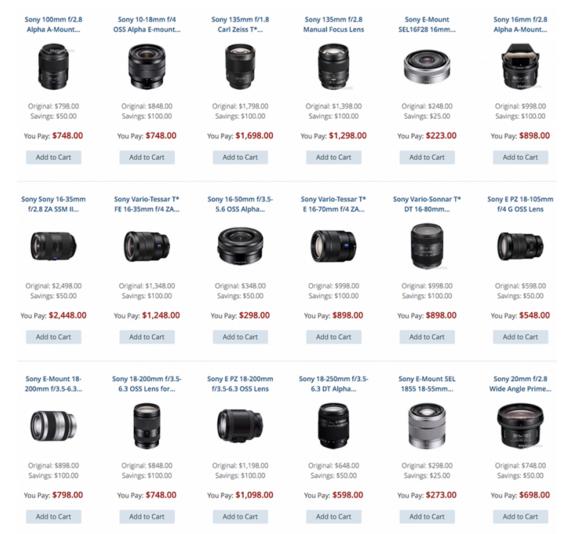 Sony lenses deals