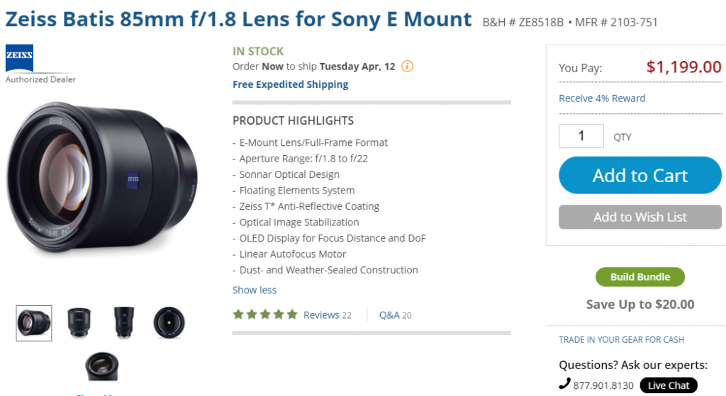 Zeiss Batis 85mm in stock at B&H