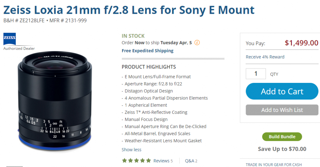 Zeiss Loxia 21mm F2.8 lens in stock at B&H
