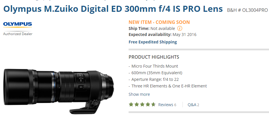 Olympus 300mm F4 Pro IS lens start shipping in June