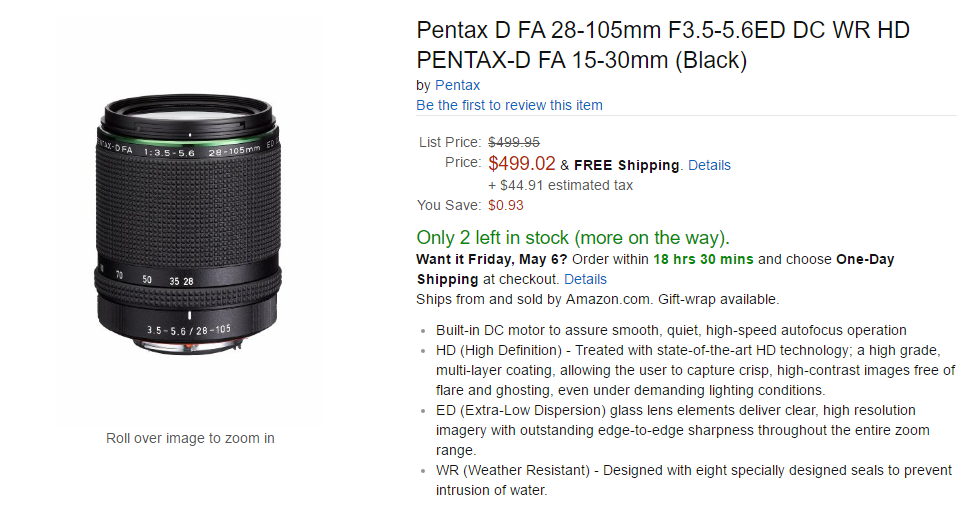 Pentax D FA 28-105mm lens in stock