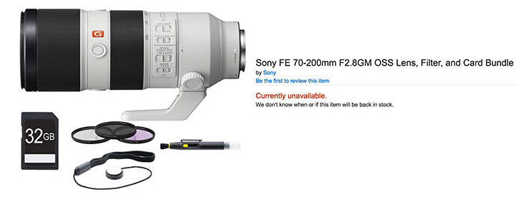 Sony FE 70-200mm F2.8 GM lens listed at amazon