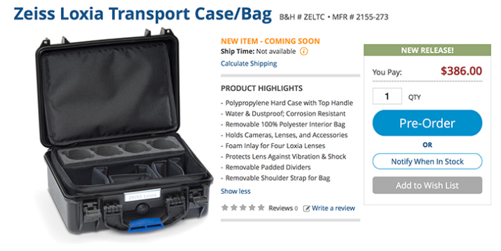 Zeiss Loxia Transport case at B&H