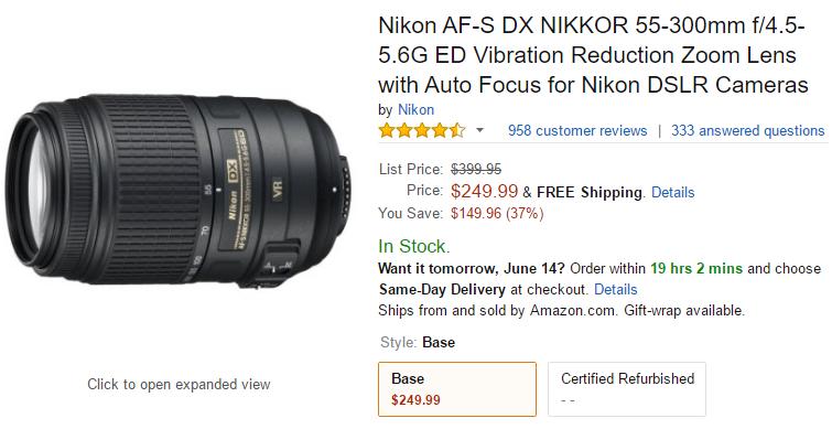 Nikon AF-S DX 55-300 f4.5-5.6G lens