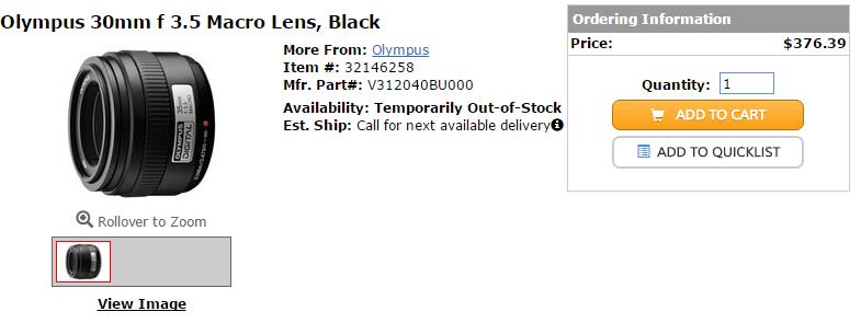 Olympus 30mm F3.5 Macro lens