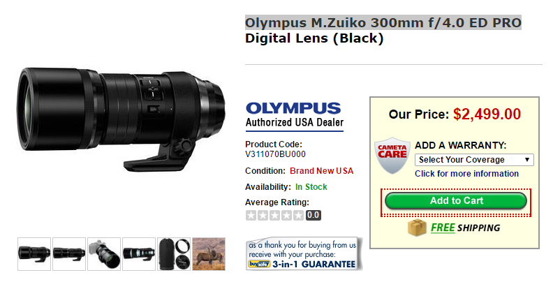 Olympus M.Zuiko 300mm F4 ED PRO lens in stock at Cameta