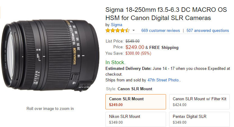 Sigma 18-250mm F3.5-6.3 DC Macro lens deal