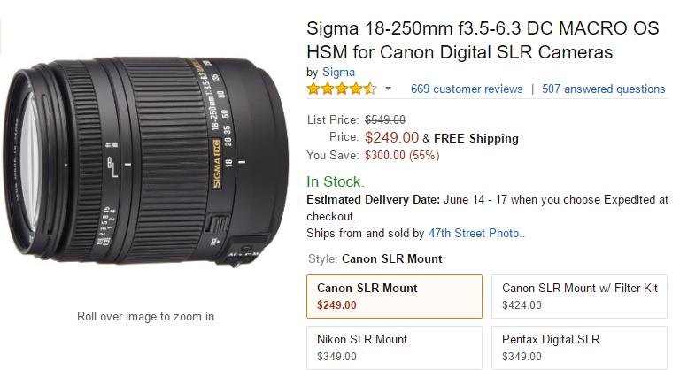 Sigma 18-250mm F3.5-6.3 DC Macro lens deal