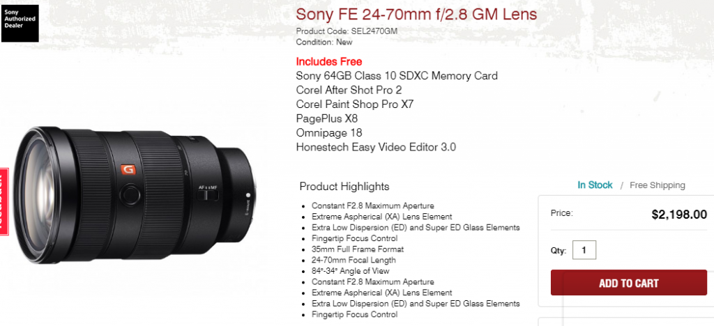 Sony FE 24-70mm F2.8 GM lens in stock at Focuscamera