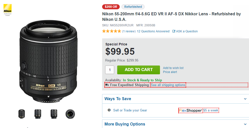 Nikon 55-200mm F4-5.6G DX lens deal
