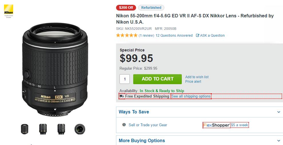Nikon 55-200mm F4-5.6G DX lens deal