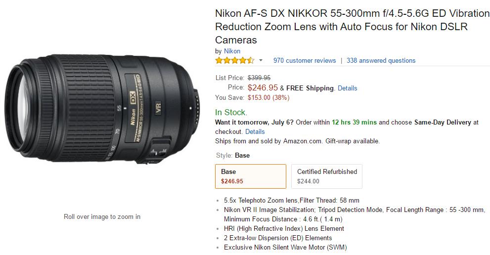 Nikon AF-S Nikkor 55-300mm VR lens deal