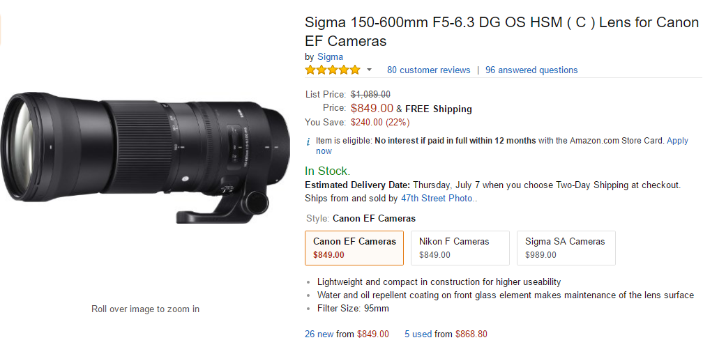 Sigma 150-600mm F5-6.3 DG C lens deal