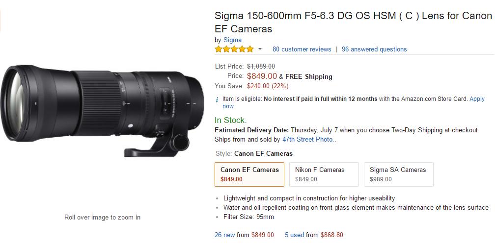 Sigma 150-600mm F5-6.3 DG C lens deal