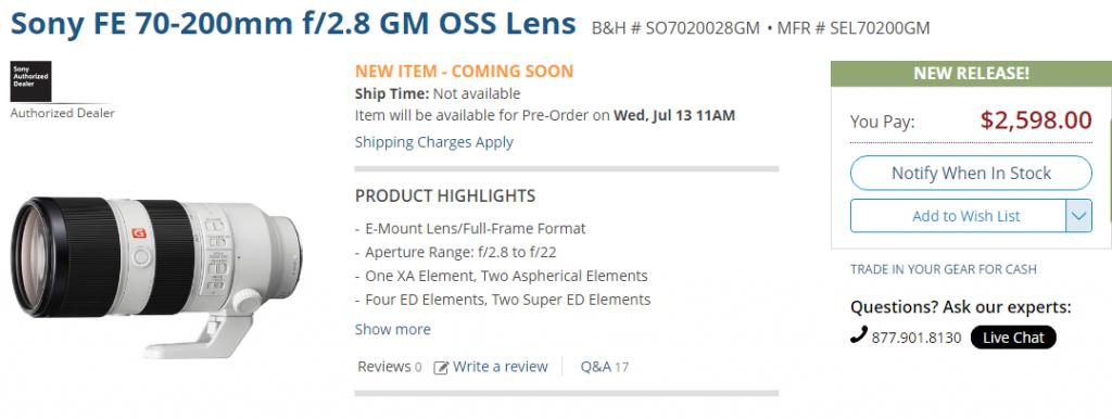 Sony FE 70-200mm F2.8 GM OSS lens pre-order