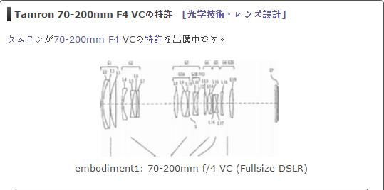 Tamron 70-200mm F4 VC lens patent