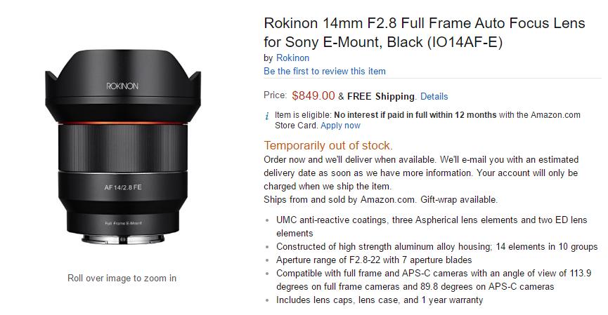 Rokinon AF 14mm f2.8 FE Lens pre-order