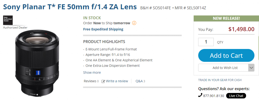 Sony FE 50mm F1.4 ZA lens in stock