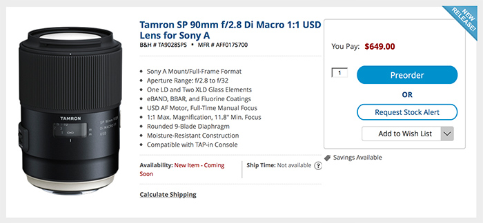 Tamron SP 90mm F2.8 Macro for sony A
