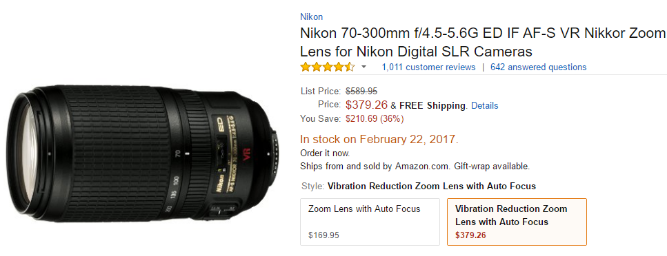 Nikon AF-S VR Zoom-NIKKOR 70-300mm f4.5-5.6G IF-ED Lens deal