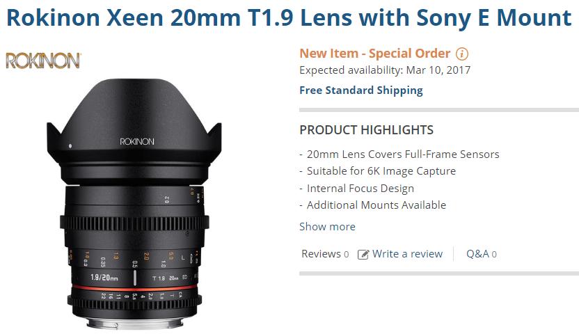 Rokinon Xeen 20mm T1.9 lens pre-order