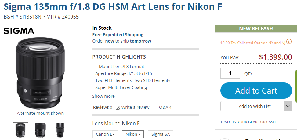 Sigma 135mm f1.8 DG HSM Art Lens in stock