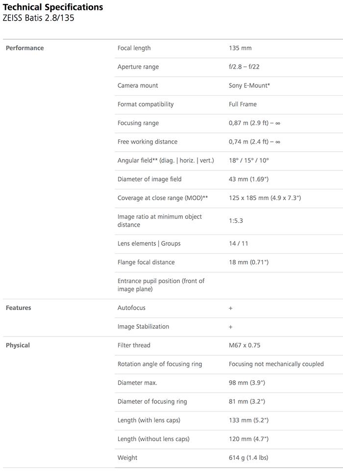 Zeiss Batis 135mm f 2.8 Specifications
