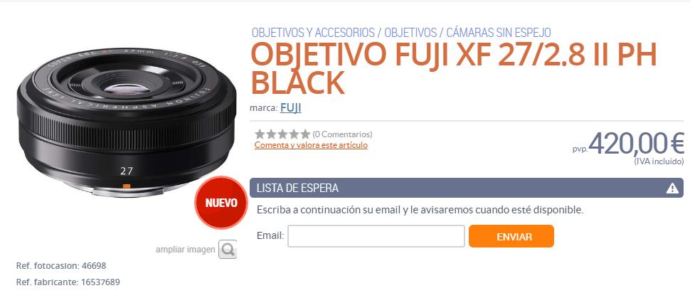 Fujifilm xf 27mm F2.8 II