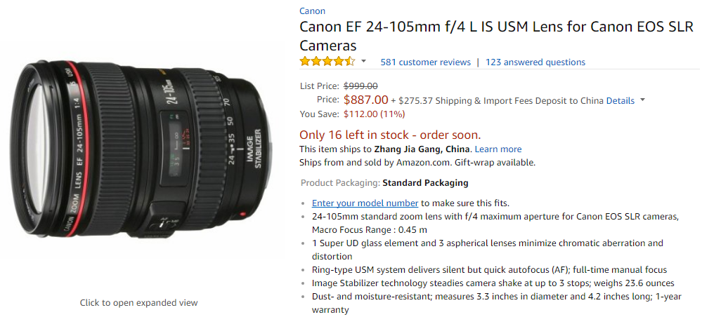 Canon EOS 24-105mm F4L deal
