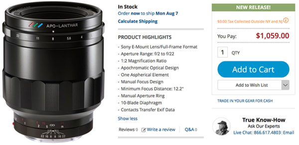 voigtlander 65mm f2 lens in stock
