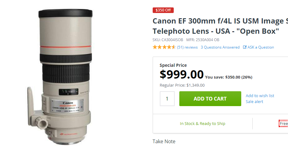 Canon EF 300mm F4 deal