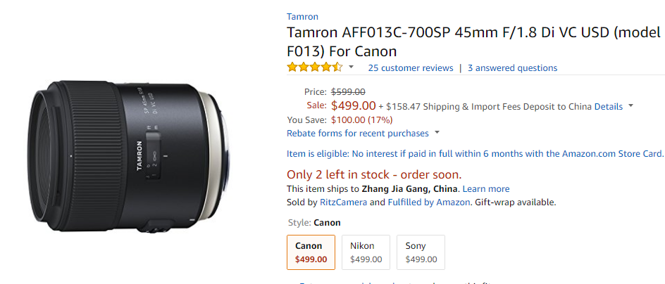 Tamron SP 45mm F1.8 lens deal