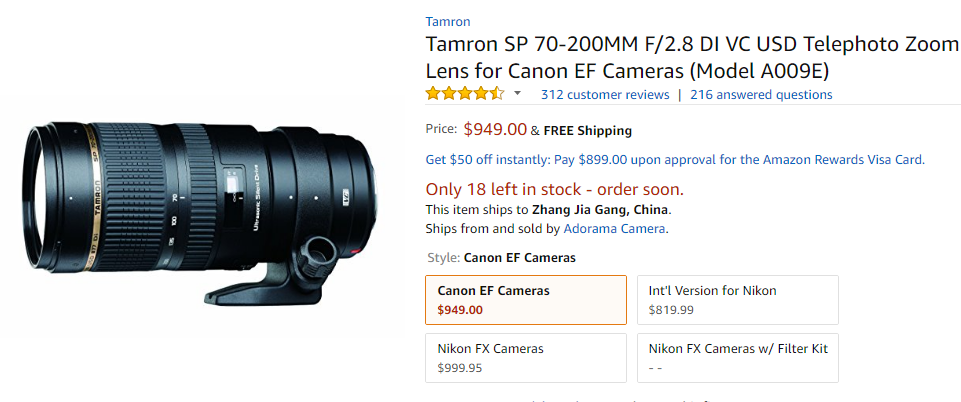 Tamron SP 70-200mm F2.8 deal