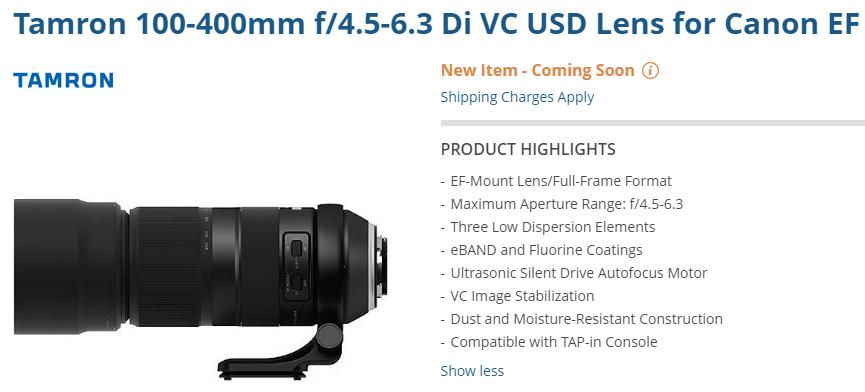 Tamron 100-400mm f/4.5-6.3 Di VC USD Lens Listed at B&H | Lens Rumors