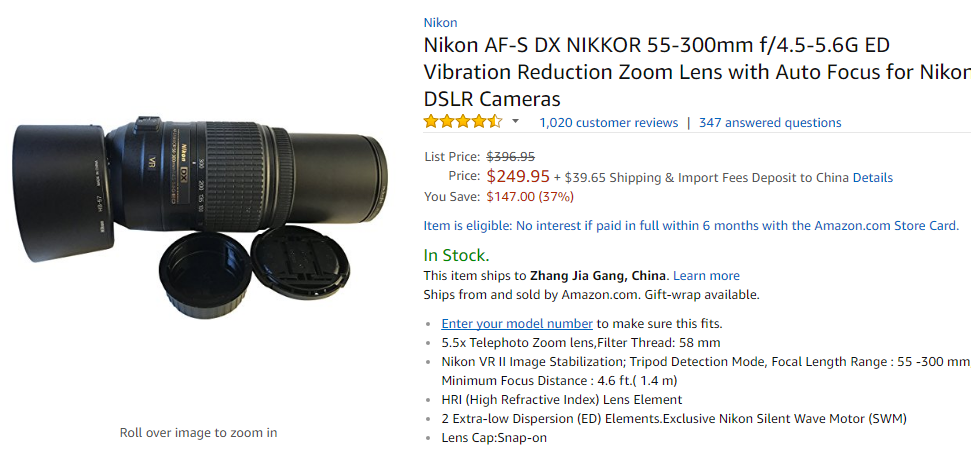 Nikon DX 55-300mm Lens deal