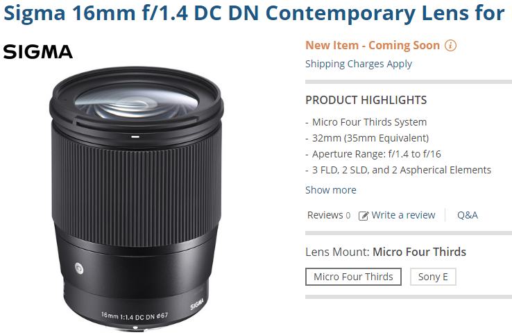 Sigma 16mm F1.4 lens images